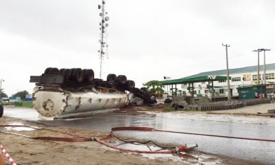 No life lost as petrol laden tanker falls in Lagos topnaija.ng