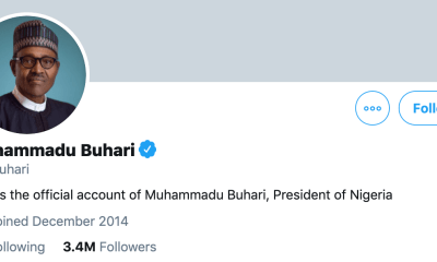 Buhari loses 1a00,000 followers on Twitter