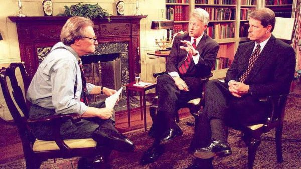 Larry King has interviewed every sitting president since Gerald Ford. Here he is with President Bill Clinton and Vice-President Al Gore before the 1996 presidential election