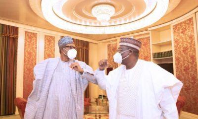 Pictorial: Buhari, Lawan meet behind 'closed door' in Abuja