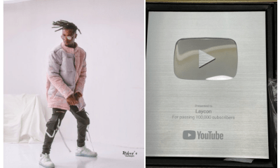BBNaija's Laycon receives silver plaque as he hits 100k subscribers on YouTube [VIDEO]