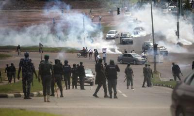 police tear gas protest nigeria