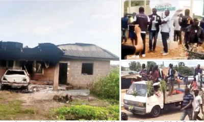 A-burnt-house-and-youths-during-a-protest-against-gunmen-attack-on-Yelwa-Zangam