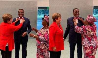 Akin Adesina gets styled by Okonjo Iweala, IMF MD, Kristalina Georgieva
