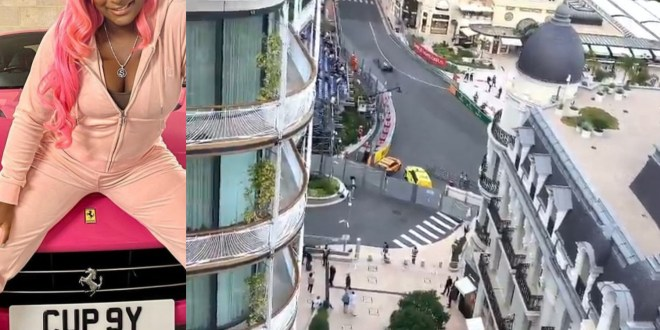 DJ Cuppy watches the Monaco Grand Prix 2021 from the balcony of the Otedola family home in Mont? Carlo (video)