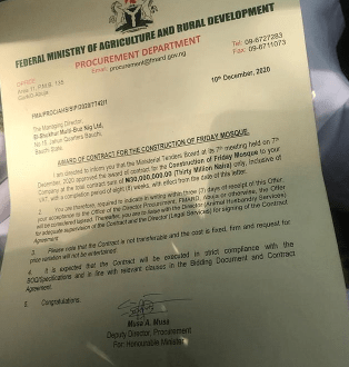 Update: N30m mosque is meant for displaced herdsmen ? Federal Ministry of Agriculture says
