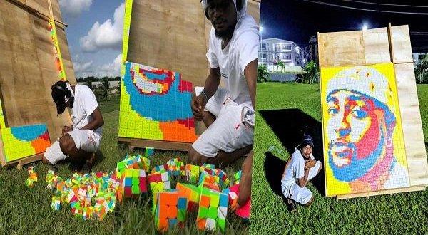 Artist creates unique portrait of Davido with Rubik's cubes