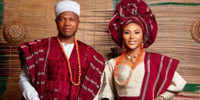 Media personality Stephanie Coker and hubby Olumide Aderinokun conferred with chieftaincy titles