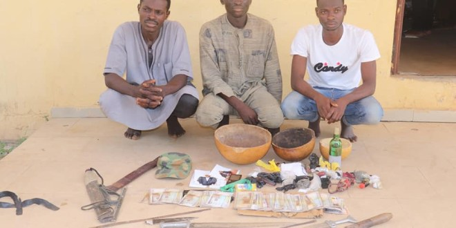 Police arrest three suspects for kidnapping two children in Niger State, recover N230,000, assorted charms