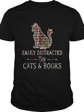 Premium Cat LoverBook LoverEasily Distracted By Cat And Books shirt