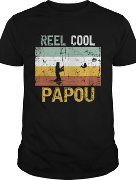 Reel Cool Papou Father Day Shirt Fishing Vintage 4th Of July TShirt