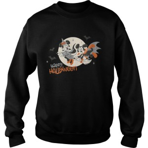 Womens Disney Halloween Minnie and Minnie Flying VNeck TShirt Sweatshirt