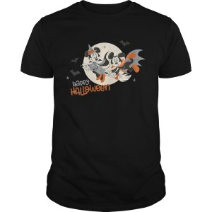 Womens Disney Halloween Minnie and Minnie Flying VNeck TShirt Unisex
