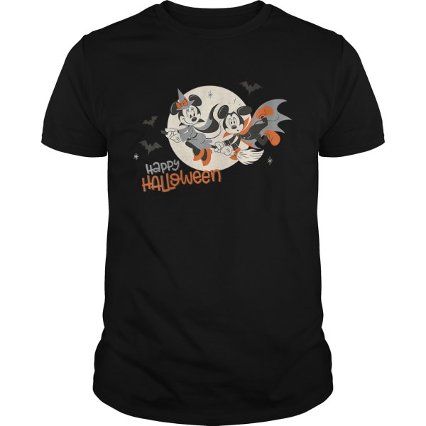 Womens Disney Halloween Minnie and Minnie Flying VNeck TShirt