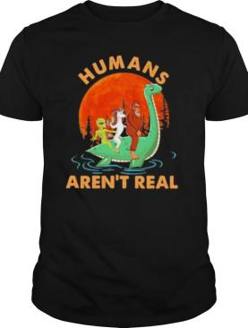 Halloween humans aren't real alice unicorn and bigfoot riding dinosaur shirt