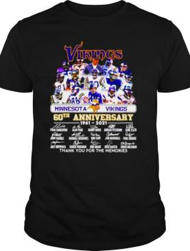 Minnesota Vikings 60th anniversary 1961 2021 thank you for the memories signatures shirt