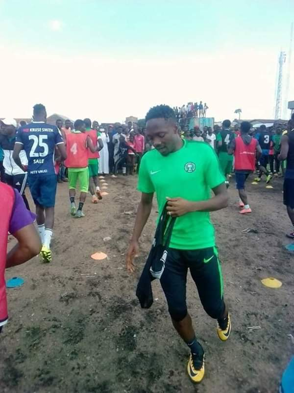 Ahmed Musa Trains With Locals Where He Grew Up In Jos (Photos)