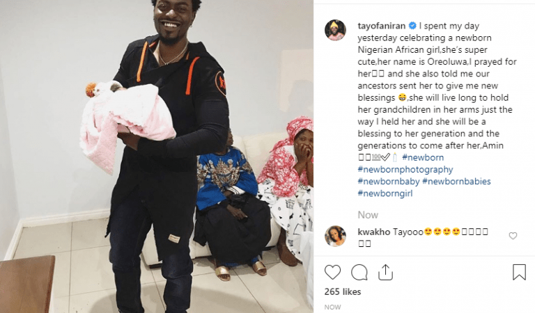 Ex-BBA Contestant, Tayo Faniran Welcomes Third Child With His Girlfriend (Photo)