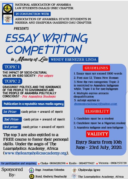 ANAMBRA STUDENTS ORGANISE ESSAY WRITING COMPETITION IN MEMORY OF WENDY E. LINDA