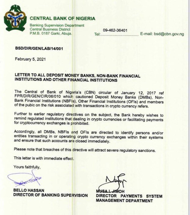 CBN Bans Cryptocurrency Exchange in Nigeria   See How Everyone is Reacting to the News