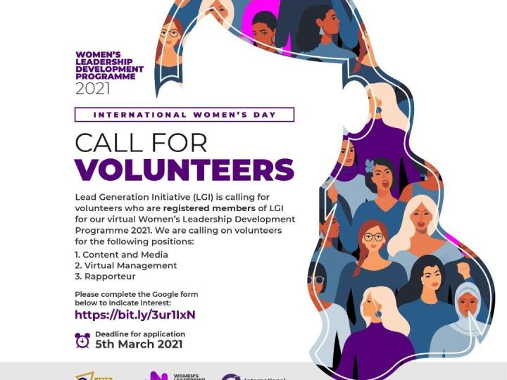 Call For Volunteers: Join the Lead Generation Initiative Virtual International Women's Day 2021 Event  | March 5th, 2021