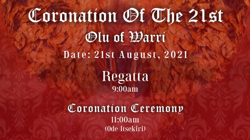 Prince Tsola Emiko will be crowned Olu of Warri on the 21st of August 2021