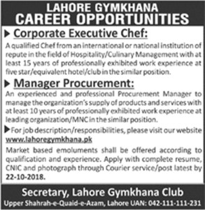 Jobs in Lahore Gymkhana