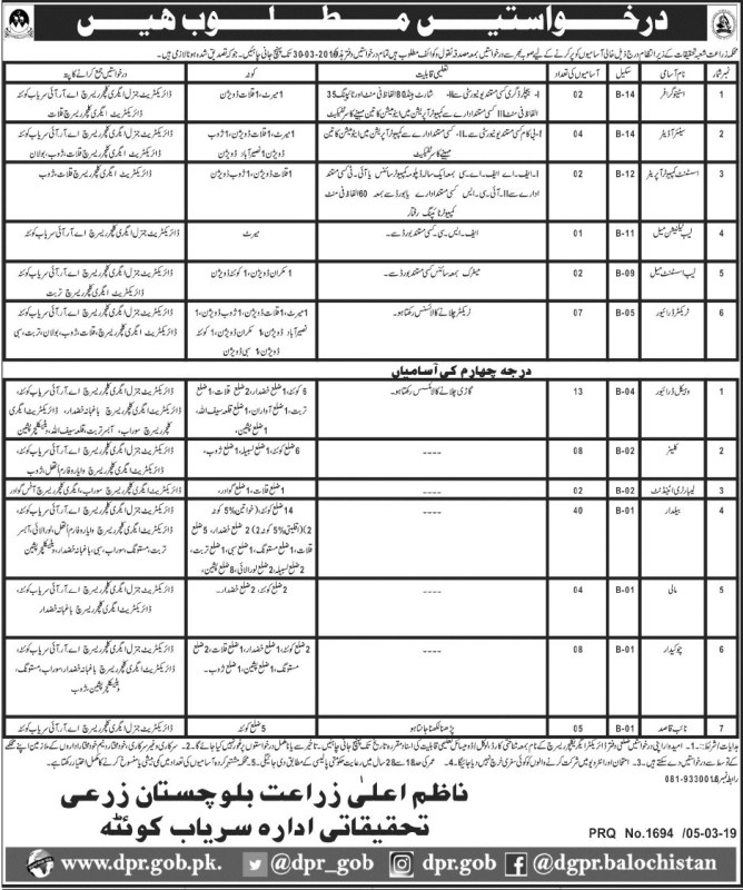 Jobs in Agriculture Research Department 2019