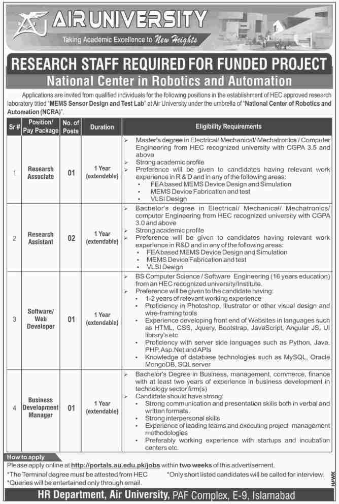 Jobs in Air University Islamabad 2019