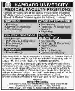 Jobs in Hamdard University 2019