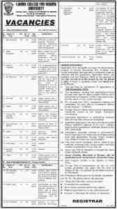 Jobs in Lahore university