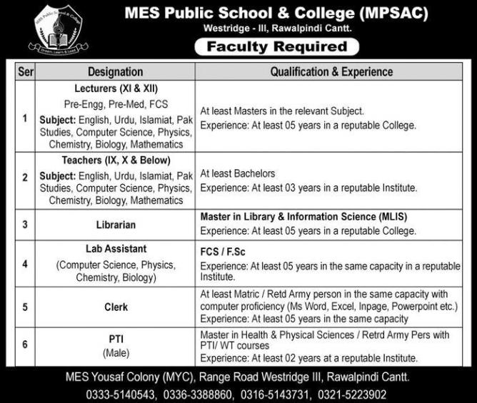 Jobs in MES Public School 2019
