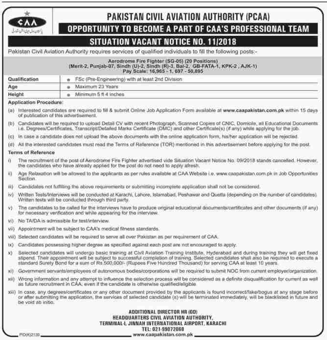Jobs in Pakistan Civil Aviation 2019