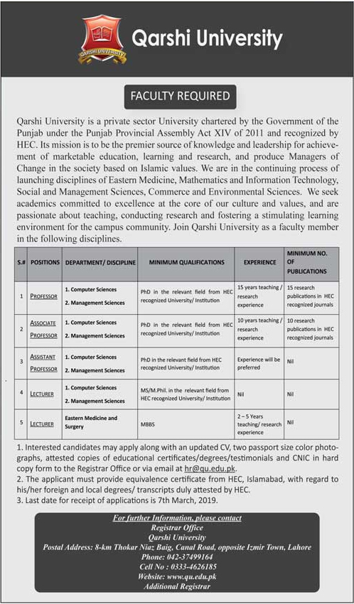 Jobs in Qarshi University Lahore 2019