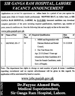 Jobs in Sir Ganga Ram Hospital 2019