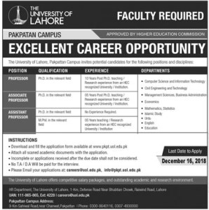 Jobs in University of Lahore 2019