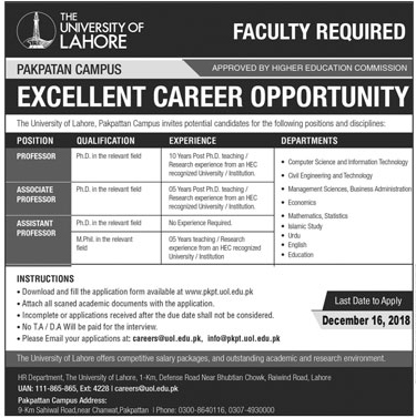 Jobs in University of Lahore 2019