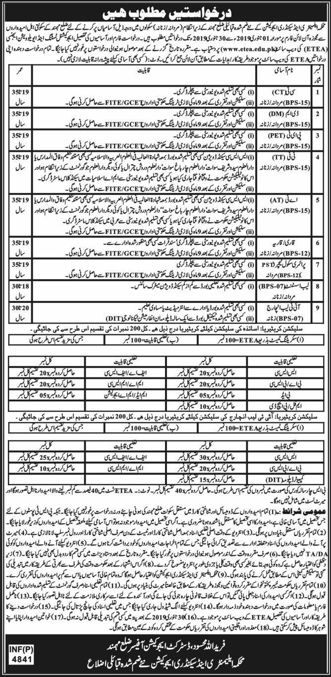 Jobs in educaion department 2019
