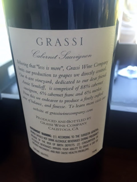 grassi cab back label