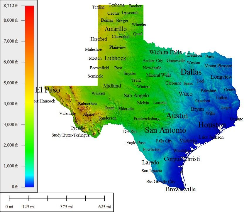Elevation Map Houston Tx