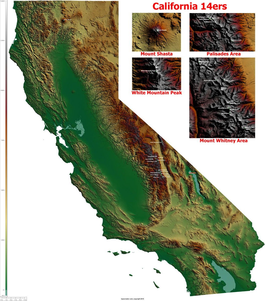 California Map Elevation