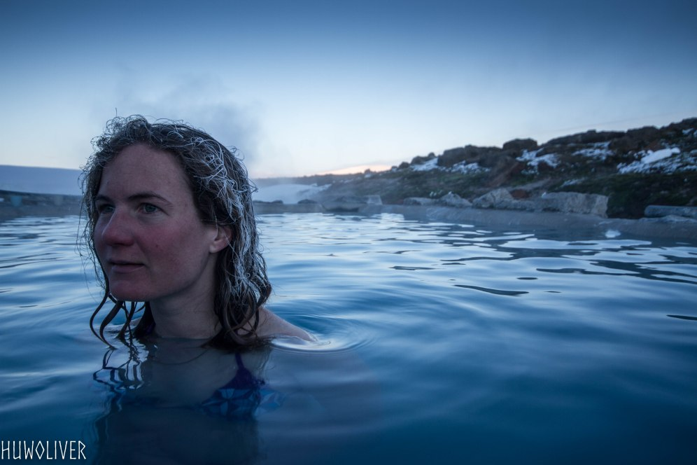 Half-way across the Kjolur, the hot pool at Hveravellir. 40 degree bathtub, but cold enough to make your hair frosty.