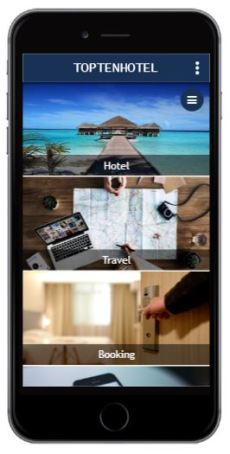 Iphone Screen toptenhotel application