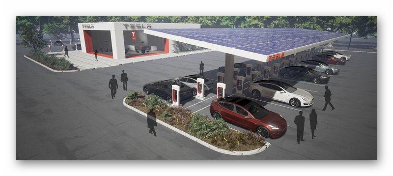 Supercharger с солнечным панелями