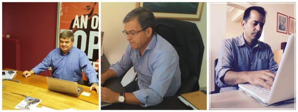 Από αριστερά οι κ.κ. Χρηστάκης, Χαρακίδης, Πέγκας, μπροστά από τους υπολογιστές τους, απαντούν στις ερωτήσεις των χρηστών του διαδικτύου μέσα από την επίσημη σελίδα του Ποταμιού στο Facebook.