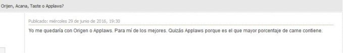 Pienso Applaws: opiniones