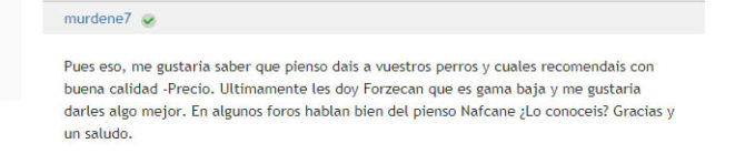 Opinión sobre pienso Forzecan