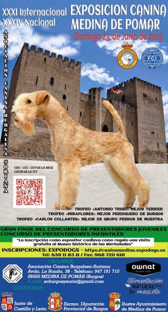 Cartel exposición canina en Medina de Pomar 2019