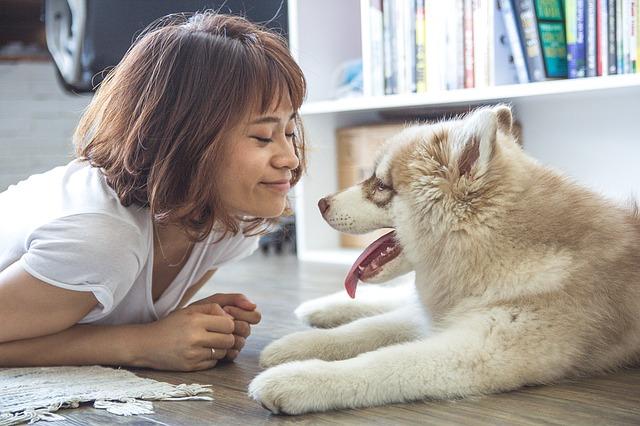 Mujer y perro felices con piensos holisticos