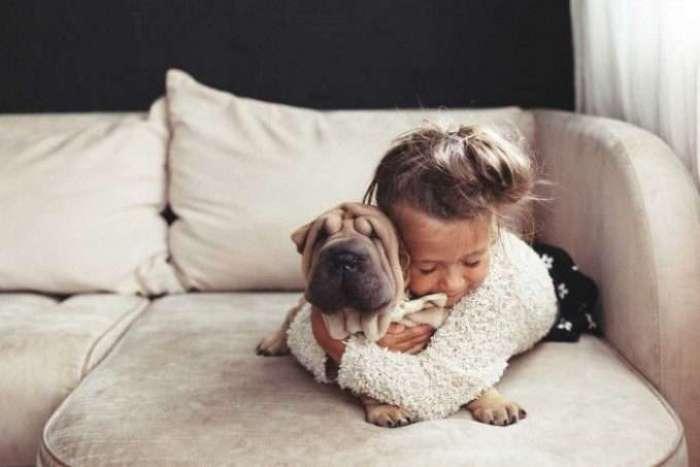 perro con una niña